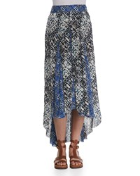 Free People Printed High Low Maxi Skirt Ivory