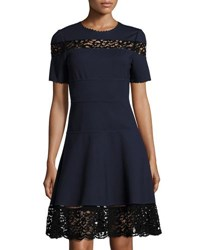 Rebecca Taylor Short Sleeve Ponte Lace Inset Dress Navy