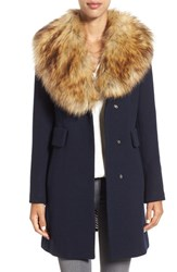 Kate Spade Women's New York Twill Coat With Faux Fur Collar