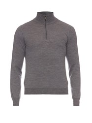 Brioni High Neck Zip Up Wool Sweater Grey