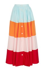 Mds Stripes Colorblock Button Front Skirt Red Orange Blue