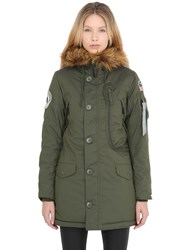 Alpha Industries Nylon Coat W Faux Fur Coat