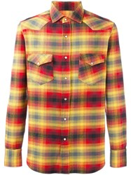 Salvatore Piccolo Plaid Shirt Yellow Orange