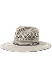 Rag And Bone Rag And Bone Leather Trimmed Woven Paper Straw Fedora Gray