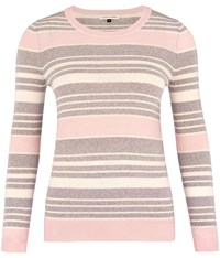 Austin Reed Grey Pink And Ivory Stripe Jumper