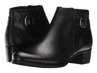 Munro American Jolynn Black Leather Quilted Detail Women's Pull On Boots