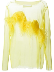 Marques Almeida Feather Applique Chiffon Blouse Yellow And Orange
