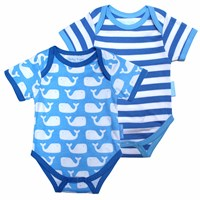 Toby Tiger Whale Baby T Shirt 2 Pack White Blue