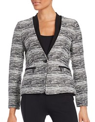 Ivanka Trump Tweed One Button Blazer Black Ivory