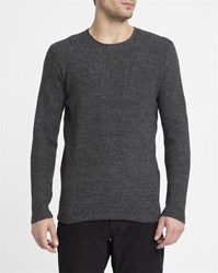 Nowadays Charcoal Round Neck Cotton And Linen Sweater Grey