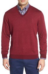 Men's Bobby Jones Merino Wool V Neck Sweater Burgundy
