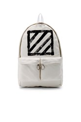 Off White Brushed Diagonals Backpack White