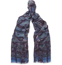 Etro Paisley Modal And Cashmere Blend Scarf Blue