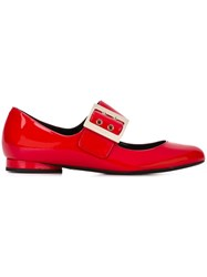 Lanvin Mary Jane Buckle Ballerinas Red