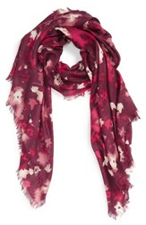 Nordstrom Women's Mystic Floral Cashmere And Silk Scarf Burgundy Combo