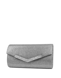 Jessica Mcclintock Ashley Lurex Rhinestone Flap Convertible Clutch Silver