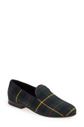 Cb Made In Italy Plaid Smoking Loafer Women Green