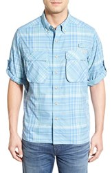 Men's Exofficio 'Outdoor Air Strip' Regular Fit Ventilated Spf Plaid Sport Shirt Riviera