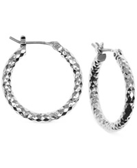 Jones New York Small Hammered Hoop Earrings Silver