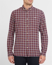 Knowledge Cotton Apparel Burgundy Organic Flannel Button Down Shirt