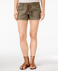 Jolt Juniors' Drawstring Tassel Beach Shorts Olive