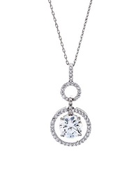 Lord And Taylor Sterling Silver And Cubic Zirconia Circle Pendant Necklace