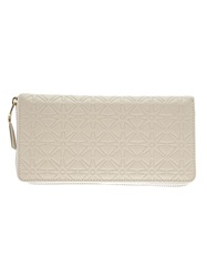 Comme Des Garcons Play Star Embossed Zip Wallet White