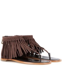 Tod's Fringed Suede Sandals Brown