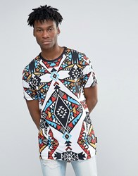 Jaded London Longline T Shirt With All Over Kaleidascope Print White
