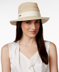 Vince Camuto Striped Fedora Tan