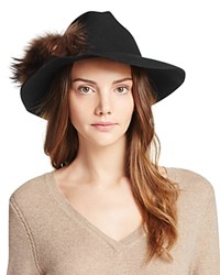 Echo Panama Hat With Asiatic Raccoon Fur Pom Pom Black