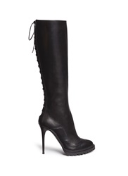 Alexander Mcqueen 'Rikk' Lace Up Back Leather Boots Black