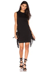 Mcq By Alexander Mcqueen Fringe Sleeve Dress Black