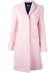 Msgm Cat Print Coat Pink And Purple