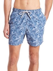 Saks Fifth Avenue Chambray Floral Swim Trunks Blue