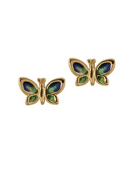 Lord And Taylor 14K Gold Enamel Butterfly Stud Earrings Blue