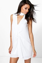 Boohoo High Neck Rouched Shift Dress White
