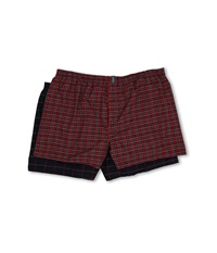 Jockey Big Man Classic Full Cut Blended Boxer 2 Pack Classic Red Tartan Navy Windowpane Men's Underwear Multi