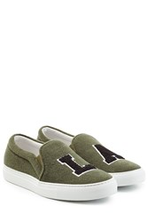 Joshua Sanders Felted Wool Slip On Sneakers Green