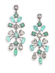 Alexis Bittar Elements Moonlight Amazonite Green Chalcedony And Crystal Spur Lace Chandelier Earrings Silver Turquoise