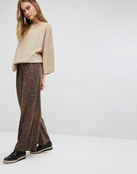 Paisie Wide Leg Trousers In Marl With Folded Detail And Leather Belt Brown
