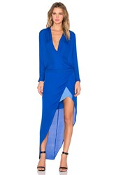 Mason By Michelle Mason Long Sleeve Contrast Slip Gown Blue