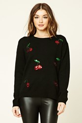 Forever 21 Cherry Sequin Sweater Black Red