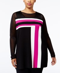 Inc International Concepts Plus Size Colorblocked Tunic Only At Macy's Magenta Flame