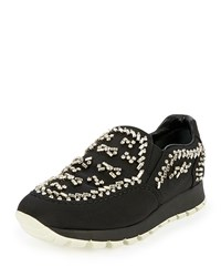 Prada Crystal Embellished Tech Sneaker Black