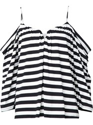 Nicole Miller Striped Off The Shoulder Blouse Black