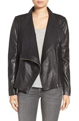 Trouve Women's Drape Front Raw Edge Leather Jacket