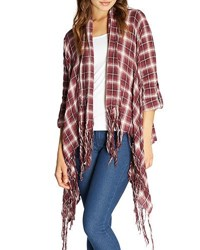 Bobeau Plaid Third Piece Fringed Open Front Cardigan Burgundy