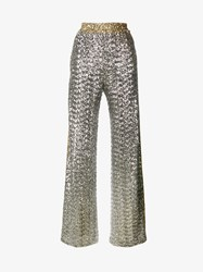 Faith Connexion Loose Fit Sequin Embellished Trousers Silver Black