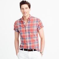 J.Crew Indian Madras Shirt In Dark Guava